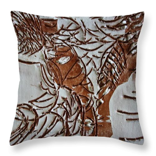 Jesus Throw Pillow featuring the ceramic art Home - Tile by Gloria Ssali