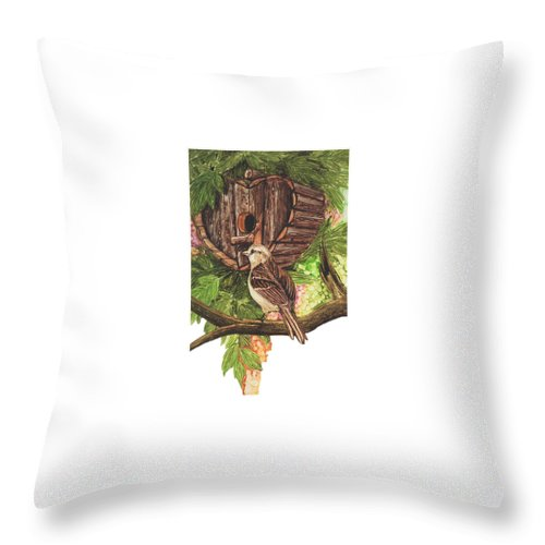 Prismacolor Permanent Ink Drawing Throw Pillow featuring the painting Home Sweet Home by Charles Valentine