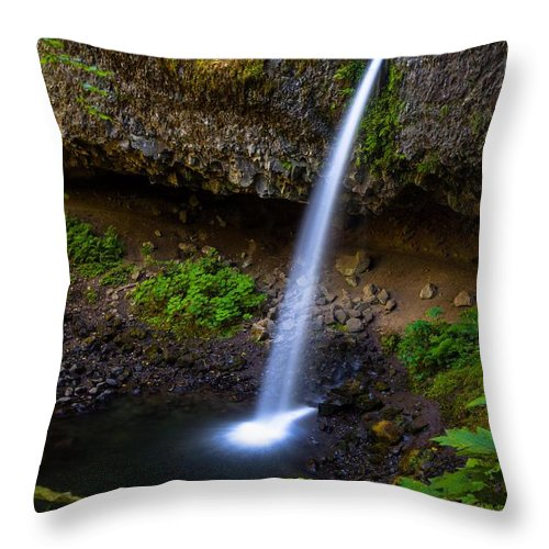 Waterfall Throw Pillow featuring the photograph Horsetail Falls by Zachary Bale