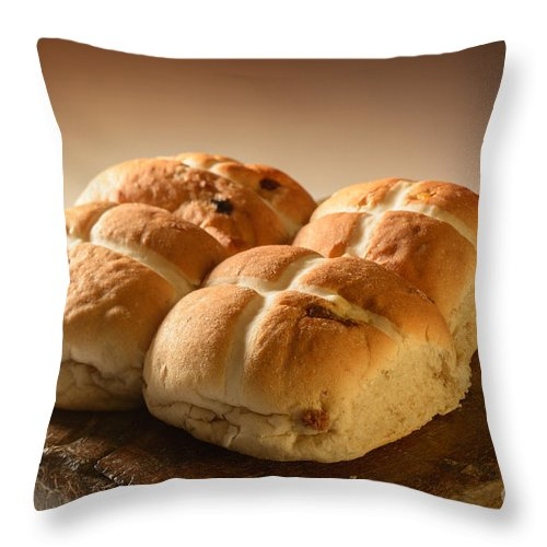Hot Throw Pillow featuring the photograph Hot Cross Buns by Amanda Elwell