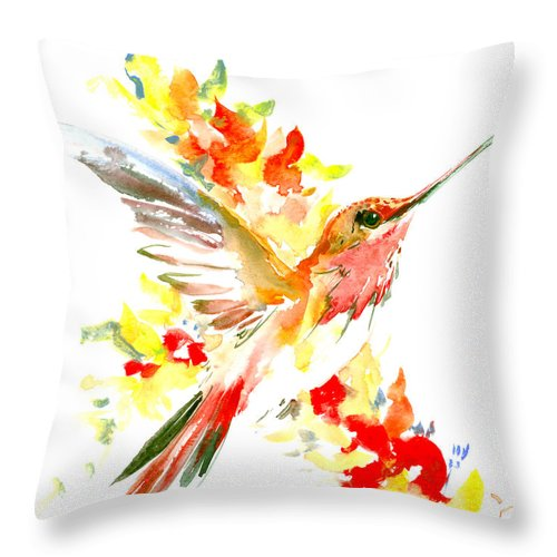 Hummingbird And Flame Colored Flowers Throw Pillow For Sale By Suren Nersisyan