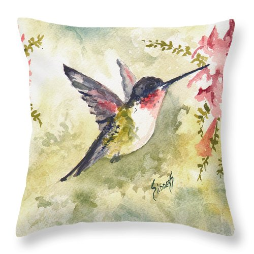 Hummingbird Throw Pillow featuring the painting Hummingbird by Sam Sidders