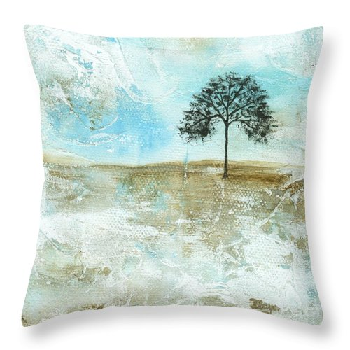 Landscape Throw Pillow featuring the painting I Will Endure by Itaya Lightbourne