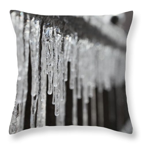 Icicles Throw Pillow featuring the photograph Icicles At Attention by Nadine Rippelmeyer