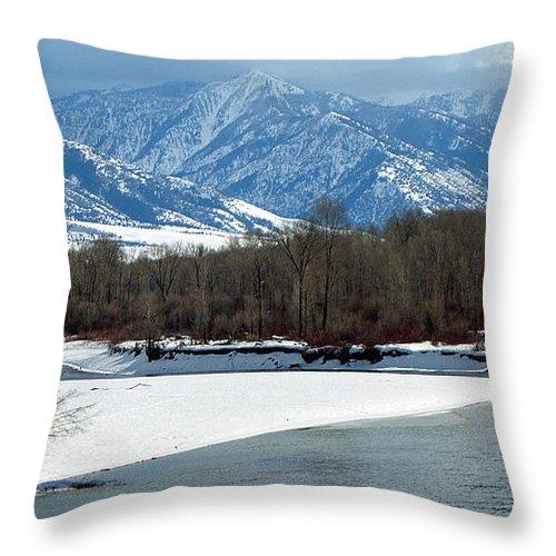 Ann Keisling Throw Pillow featuring the photograph Idaho Winter River by Ann Keisling