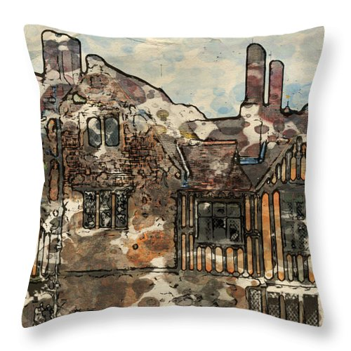 14th-century Throw Pillow featuring the digital art Ightham Mote by Paul Stevens
