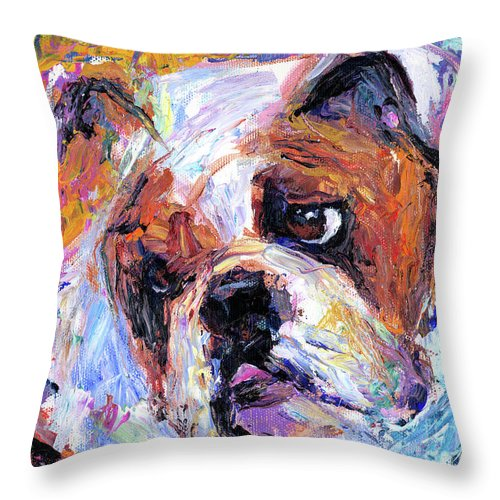 English Bulldog Painting Throw Pillow featuring the painting Impressionistic Bulldog Painting by Svetlana Novikova