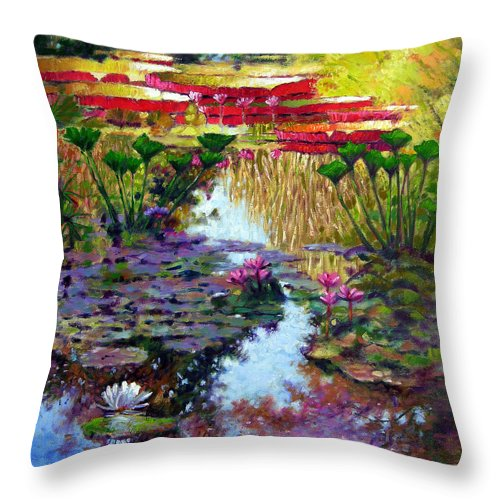 Garden Pond Throw Pillow featuring the painting Impressions of Summer Colors by John Lautermilch