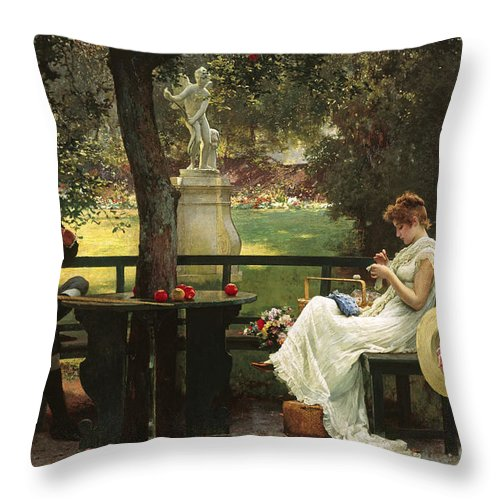 In Love (oil On Canvas) By In Love (oil On Canvas) By Marcus Stone (1840-1921) Throw Pillow featuring the painting In Love by Marcus Stone
