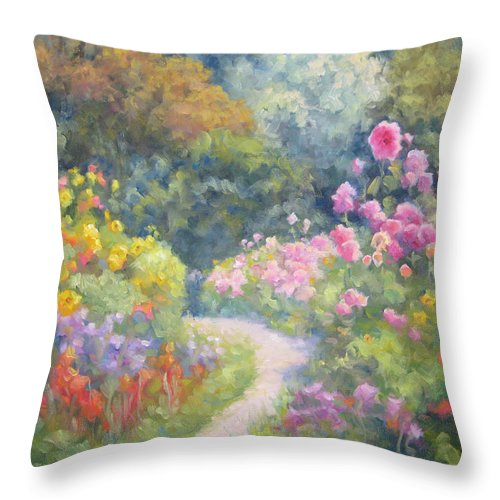 Garden Throw Pillow featuring the painting In Monets Footsteps by Bunny Oliver