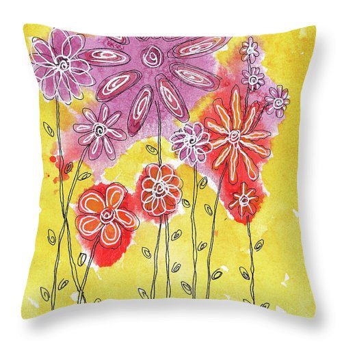 Watercolor And Ink Throw Pillow featuring the painting In The Garden by Susan Campbell