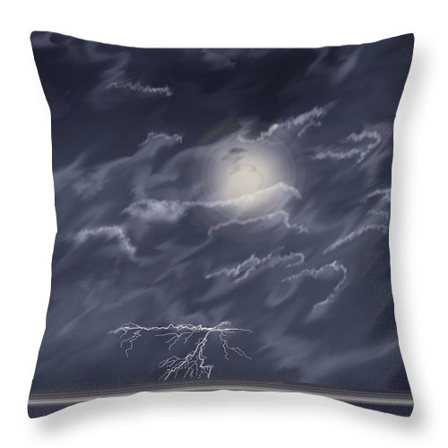 Lightning Storm Throw Pillow featuring the painting In The Heat of the Night by Anne Norskog
