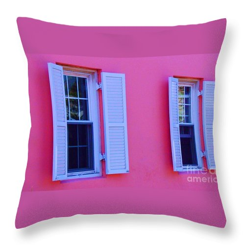 Shutters Throw Pillow featuring the photograph In The Pink by Debbi Granruth