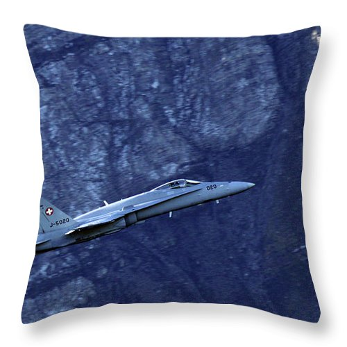 Aircraft Throw Pillow featuring the photograph In The Swiss Alps by Angel Ciesniarska
