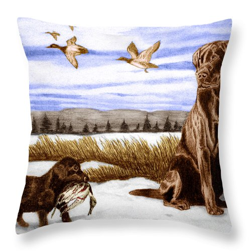 In Training Throw Pillow featuring the drawing In Training by Peter Piatt