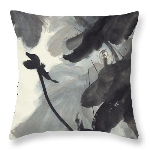 Zhang Daqian (10 May 1899 – 2 April 1983) Was One Of The Best-known And Most Prodigious Chinese Artists Of The Twentieth Century. Originally Known As A Guohua (traditionalist) Painter Throw Pillow featuring the painting Ink Lotus by Zhang Daqian