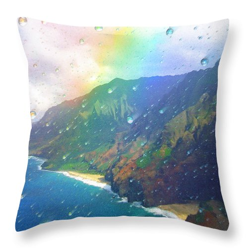 Rainbow Throw Pillow featuring the painting Inside a Rainbow by Robby Donaghey