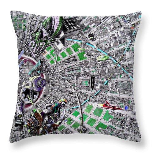 Landscape Throw Pillow featuring the drawing Inside Orbital City by Murphy Elliott