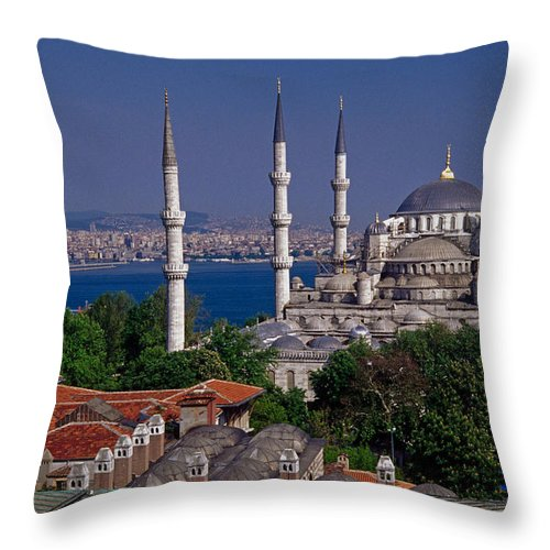 Turkey Throw Pillow featuring the photograph Istanbul's Blue Mosque by Michele Burgess