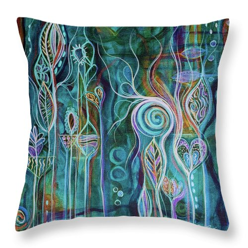 Art Throw Pillow featuring the painting Itty Bitty Fun by Angel Fritz