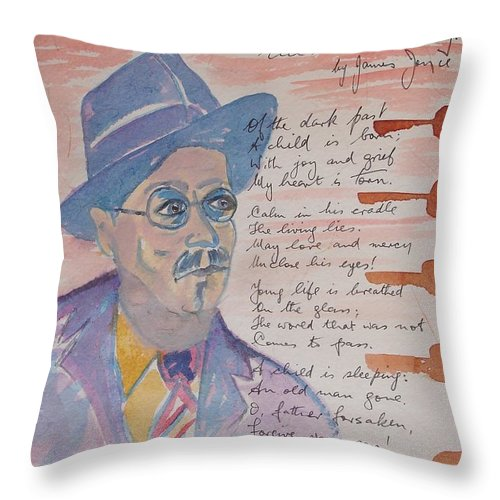 Limited Edition Print Throw Pillow featuring the painting James Joyce by Roger Cummiskey