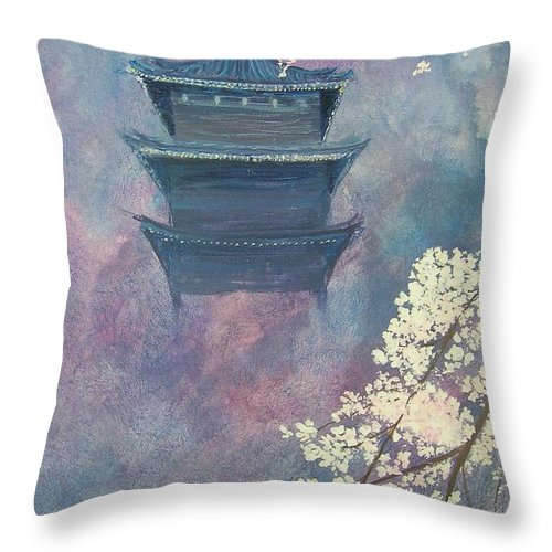 Landscape Japan Throw Pillow featuring the painting Japanese Spring Scene by Lizzy Forrester