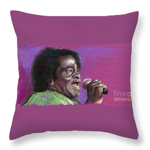 Jazz Throw Pillow featuring the painting Jazz. James Brown. by Yuriy Shevchuk