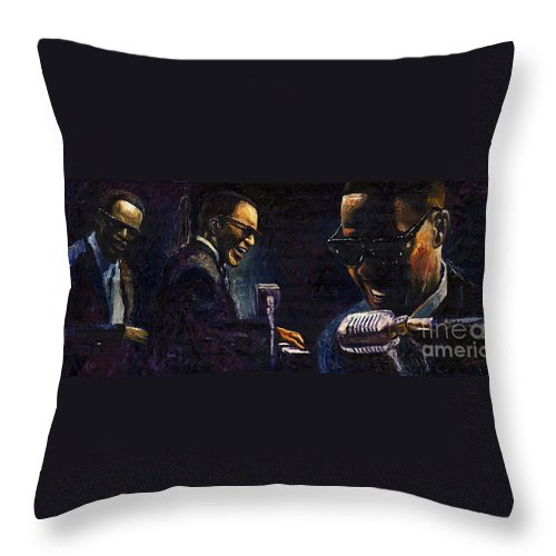 Jazz Throw Pillow featuring the painting Jazz Ray Charles by Yuriy Shevchuk