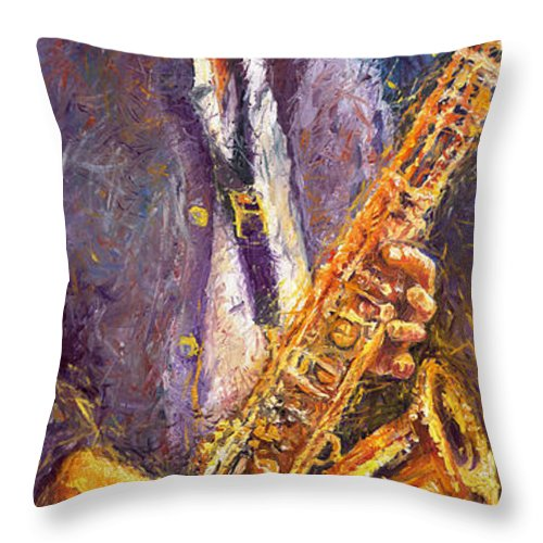 Jazz Throw Pillow featuring the painting Jazz Saxophonist by Yuriy Shevchuk