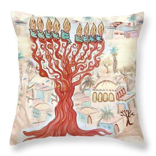 Jerusalem Throw Pillow featuring the digital art Jerusalem -watercolor On Parchment by Sandrine Kespi