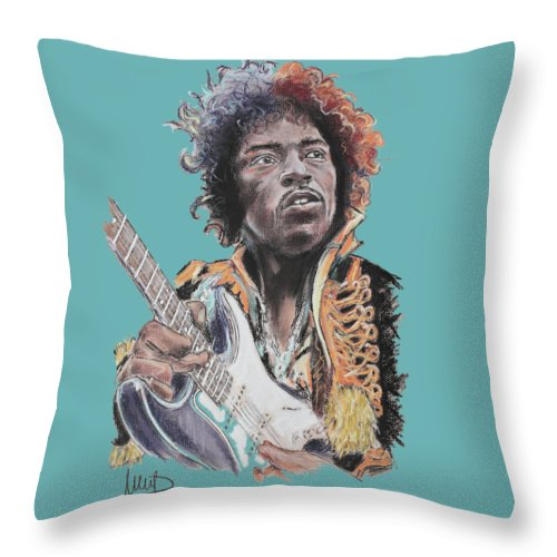 Jimi Hendrix Throw Pillow featuring the drawing Jimi Hendrix 1 by Melanie D