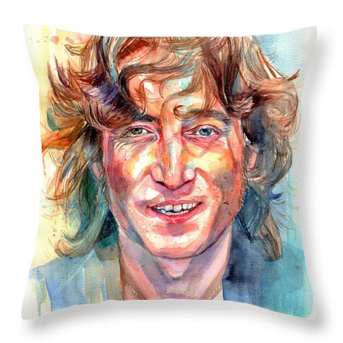 John Lennon Throw Pillow featuring the painting John Lennon portrait by Suzann Sines