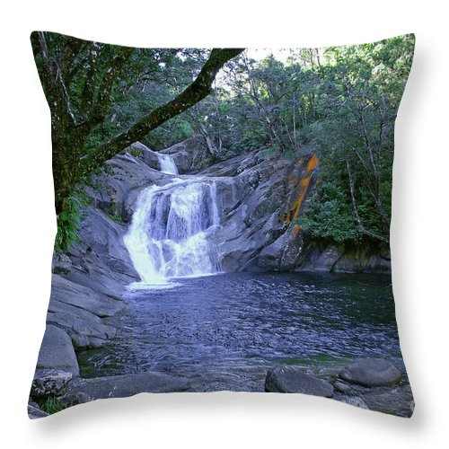 Tropical Throw Pillow featuring the photograph Josephine Falls And Tropical Pool by Kerryn Madsen- Pietsch