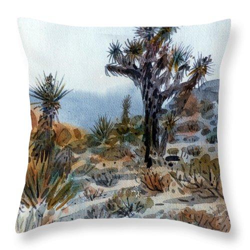 Joshua Tree Throw Pillow featuring the painting Joshua Tree by Donald Maier