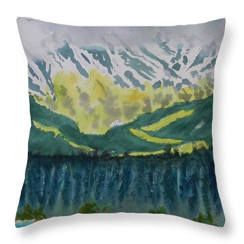 Juneau Landscape Throw Pillow featuring the painting Juneau Landscape by Warren Thompson