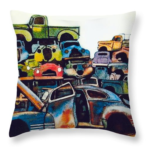 Junkyard Throw Pillow featuring the painting Junkyard by Ron Morrison