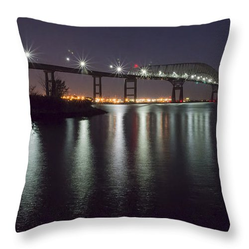 2d Throw Pillow featuring the photograph Key Bridge At Night by Brian Wallace