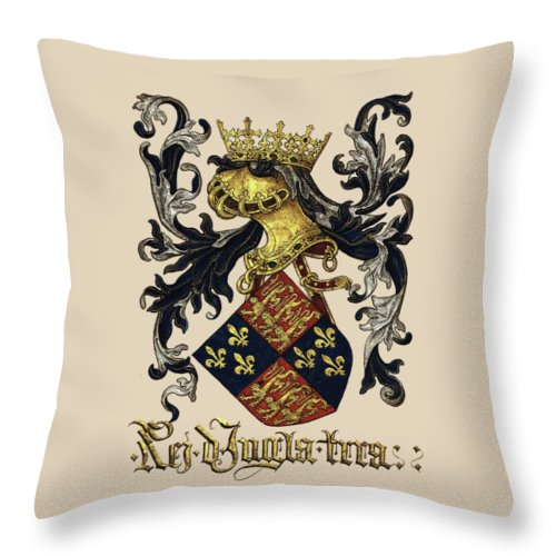 'roll Of Arms� Collection By Serge Averbukh Throw Pillow featuring the photograph King Of England Coat Of Arms - Livro Do Armeiro-mor by Serge Averbukh