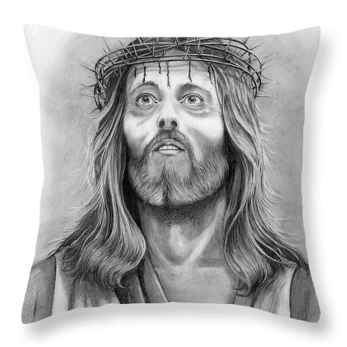 Jesus Christ Throw Pillow featuring the drawing King Of Kings by Murphy Elliott