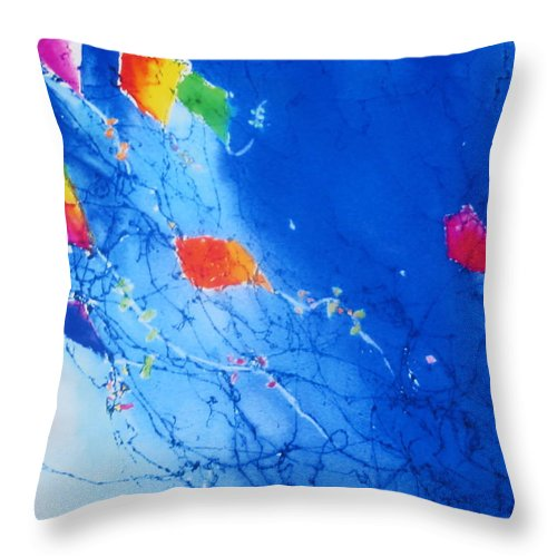 Watercolor Kites Throw Pillow featuring the painting Kite Sky by Anne Duke