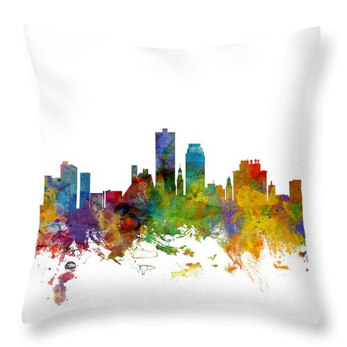 United States Throw Pillow featuring the digital art Knoxville Tennessee Skyline by Michael Tompsett