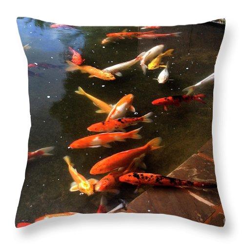 Koi Japanese Fish Carp Koi Pond Fish Pond Throw Pillow featuring the photograph Koi by Nobi Nagase