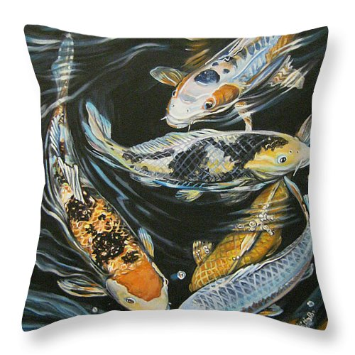 Fish Throw Pillow featuring the painting Koi Pond by Diann Baggett