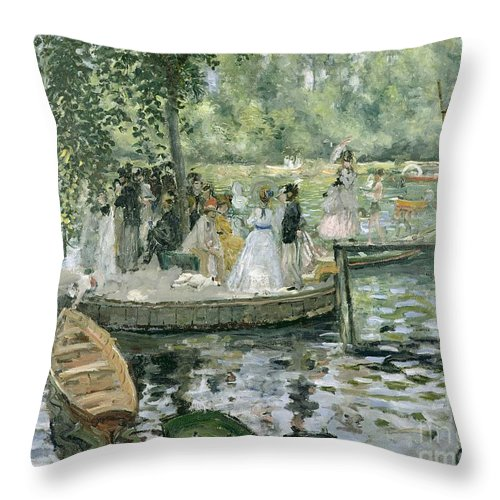 Grenouillere Throw Pillow featuring the painting La Grenouillere by Pierre Auguste Renoir