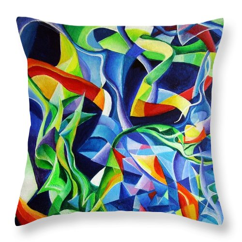Claude Debussy Acrylic Abstract Pens Music Throw Pillow featuring the painting La Mer by Wolfgang Schweizer