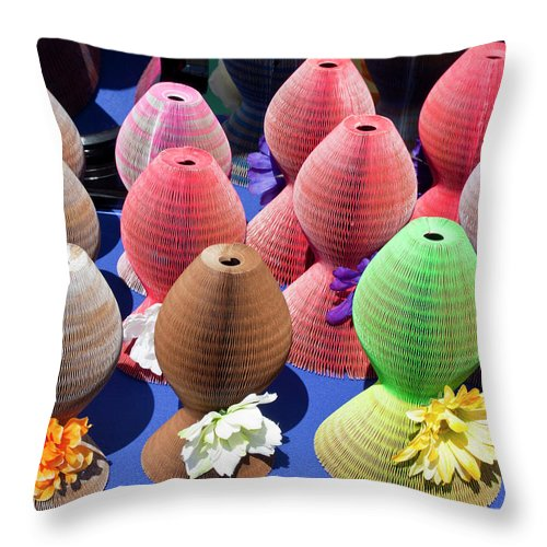 Straw Throw Pillow featuring the photograph Ladies Collapsible Straw Hats At The Cove Marketplace At Port Ca by Allan Hughes