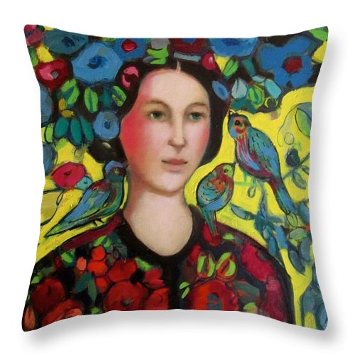 Marilene Sawaf Throw Pillow featuring the painting Lady and hat by Marilene Sawaf