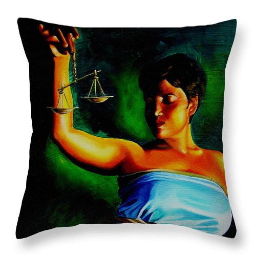 Law Art Throw Pillow featuring the painting Lady Justice by Laura Pierre-Louis
