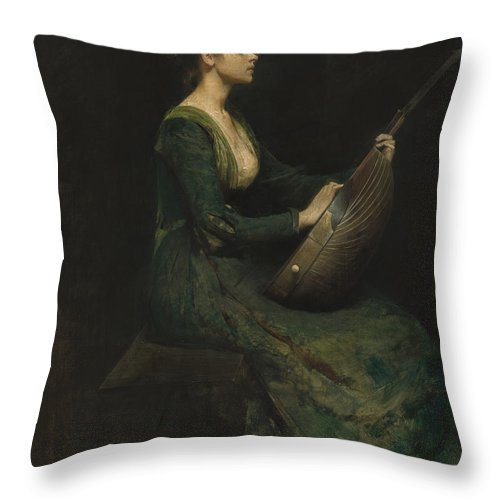 Throw Pillow featuring the painting Lady With A Lute by Thomas Wilmer Dewing