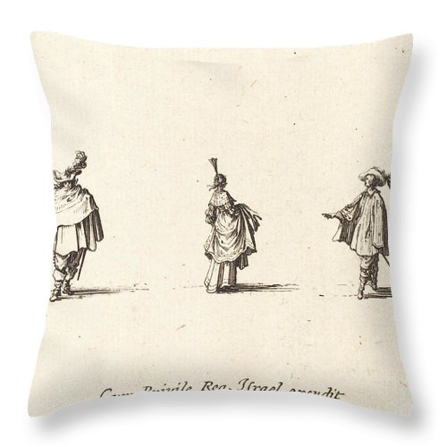 Throw Pillow featuring the drawing Lady With Dress Gathered Up, And Two Gentlemen by Jacques Callot